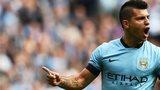 Manchester City striker Sergio Aguero celebrates after scoring