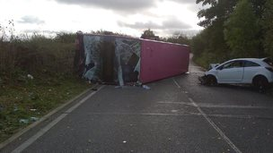 Overturned bus on St Albans Road