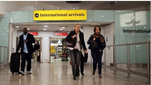 International arrivals at Gatwick airport