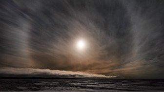 From Murray Fredericks' 'Topophilia' series: Icesheet #2564, late sun with 22˚ halo - 2013