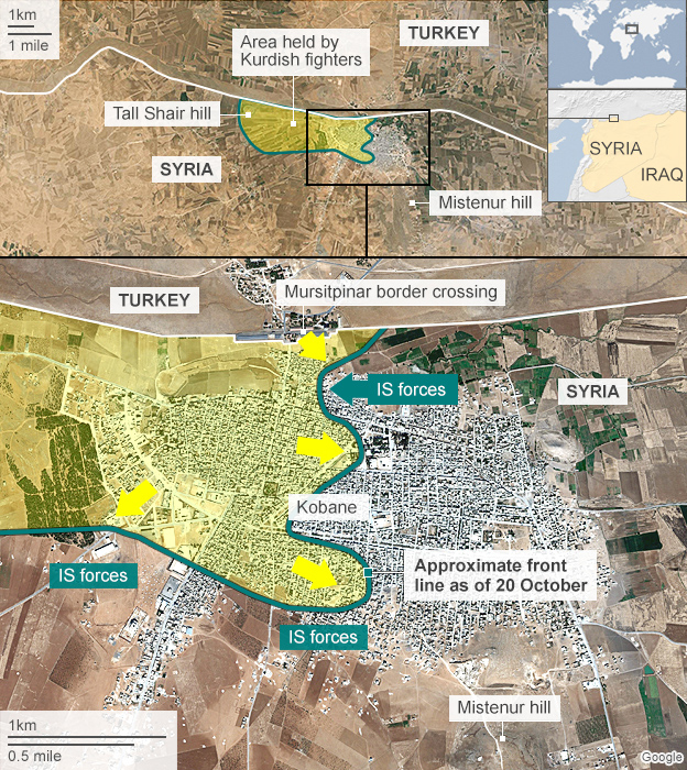 map showing IS advance on Kobane and defence by Kurdish fighters