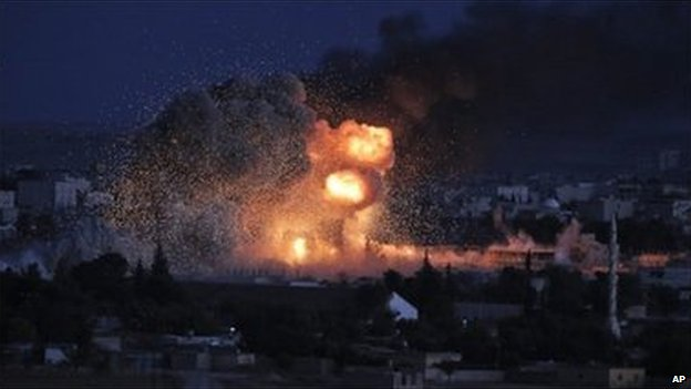 Explosion in Kobane on evening of 20 October