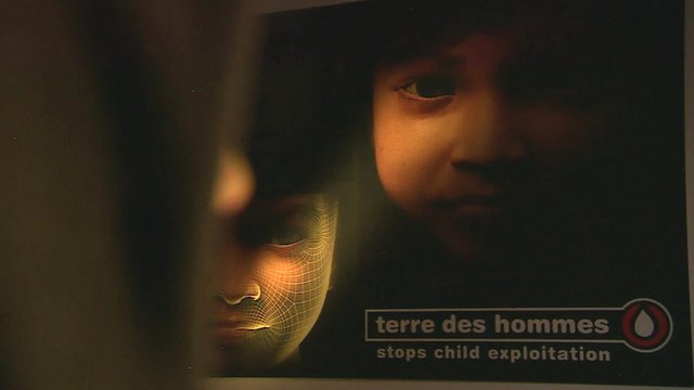 close up of images of fake teen 'Sweetie' with 'terre des hommes' logo