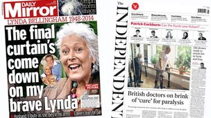 Mirror and Independent front pages