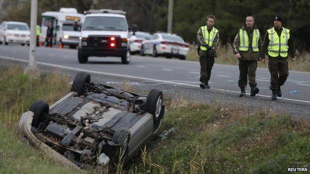 The scene of the car crash in St-Jean-sur-Richelieu, Quebec