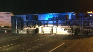 Overturned lorry on A1(M) in Cambridgeshire