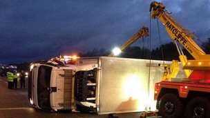 Lorry overturned on A1(M)
