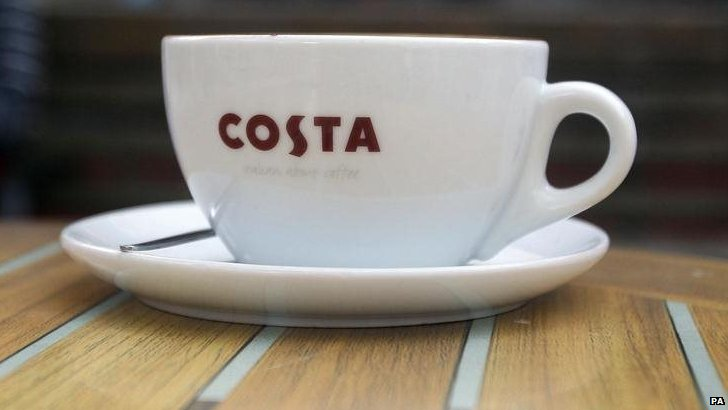 General view of cup from a Costa Coffee shop,