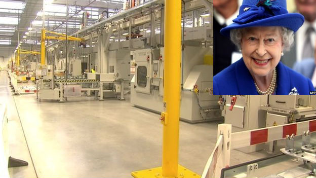 The Queen and a picture from inside the Jaguar Land Rover plant