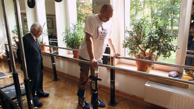 Darek Fidyka walking in the spinal rehabilitation centre in Wroclaw