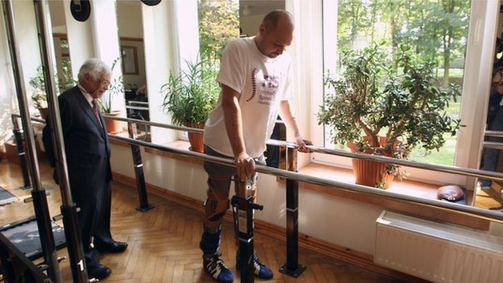 Paralysed man walking