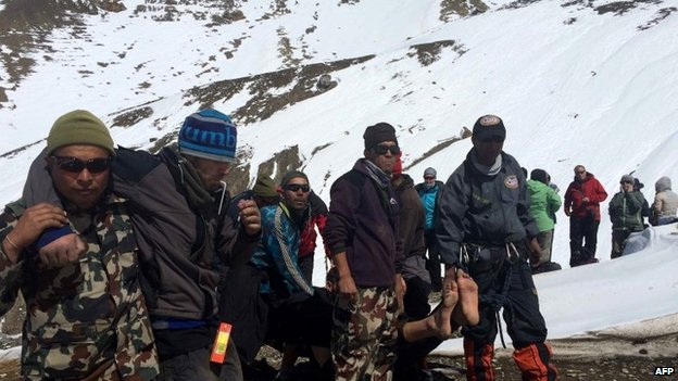 Nepali army rescues stranded trekkers.