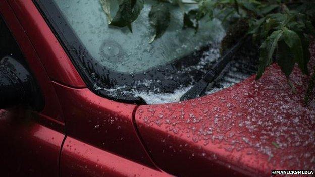 Hail hits a car in Yardley
