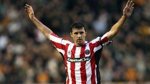 Gary Speed in action for Sheffield United