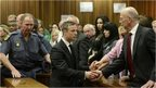 Oscar Pistorius shakes hands with his uncle Arnold as he is led away from court