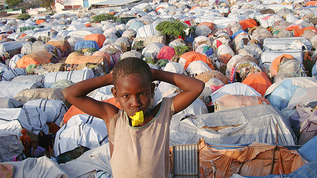 Display boy in Somalia refugee camp