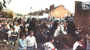 Fans and police outside Hillsborough