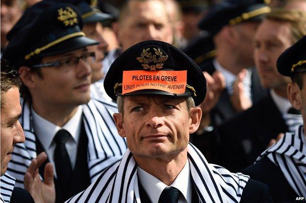 Air France pilots on strike, September 2014