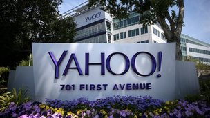 Yahoo logo on sign at headquarters