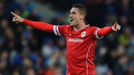 Federico Macheda celebrates after scoring for Cardiff