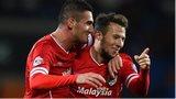 Cardiff goal-scorers Federico Macheda and Adam Le Fondre