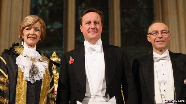 Fiona Woolf, her husband Nicholas and David Cameron at the Lord Mayor's Banquet in November 2003