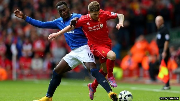 Alberto Moreno of Liverpool is tackled by Romelu Lukaku of Everton