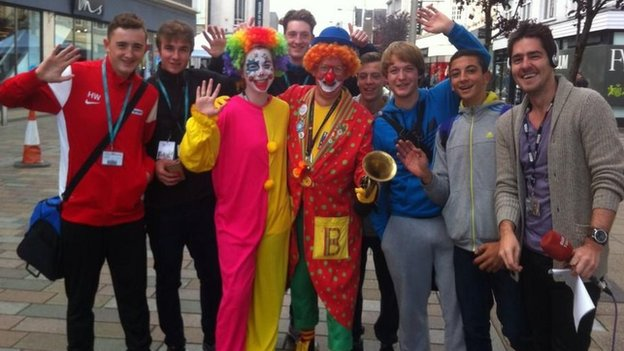 People dressed as clowns