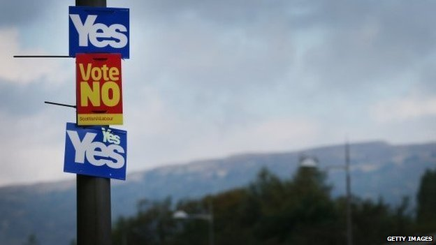 Yes and No campaign placards adorn a lamp post in sight of the Campsie Fells in Glasgow