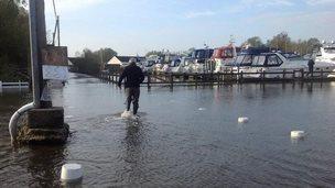 Flooding at Brundall in Norfolk