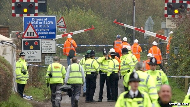 Police and rail workers at the Ufton Nervet level crossing after the crash