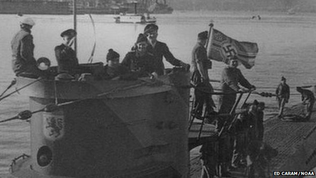 Crew of the German U-boat 576 on the deck of their submarine