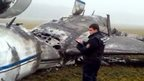 Investigator at scene of Vnukovo plane crash (21 Oct)