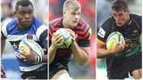 Bath winger Semesa Rokoduguni, Saracens second row George Kruis and Northampton flanker Calum Clark.
