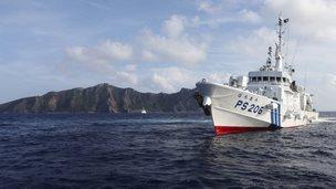 A Japanese coast guard vessel near the Diaoyu/Senkaku islands, 18 August 2013
