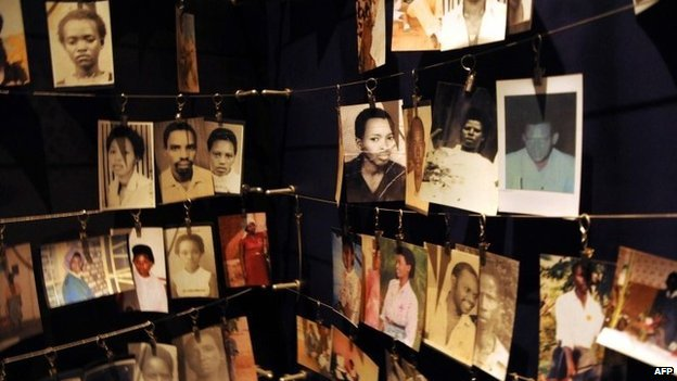 Photographs of victims in the Kigali genocide memorial