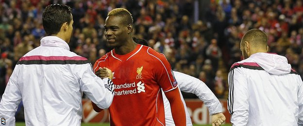 Cristiano Ronaldo and Mario Balotelli ahead of the Liverpool-Real Madrid game