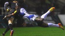 Semesa Rokoduguni flies through the air to tackle Newcastle's Tom Catterick