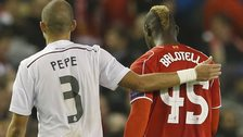 Mario Balotelli was substituted at half time against Real Madrid for Liverpool