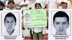 Relatives of the 43 missing students march demanding their appearance on October 21, 2014.