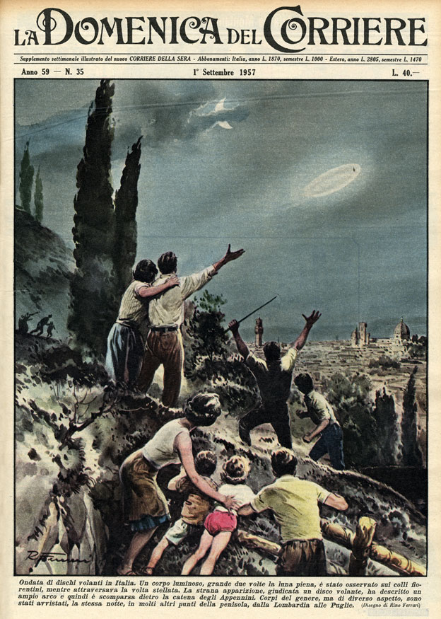 Illustration showing flying saucers over Florence