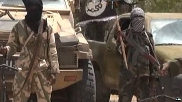 Boko Haram militants from a video released by the group