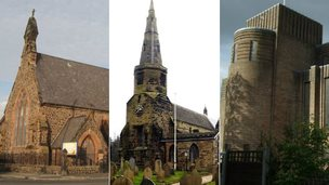 Church of Holy Trinity in St. Helens, Church of St Cuthbert in Halsall and Church of St Nicholas in Burnage