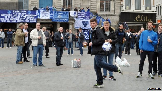 Everton fans in Lille