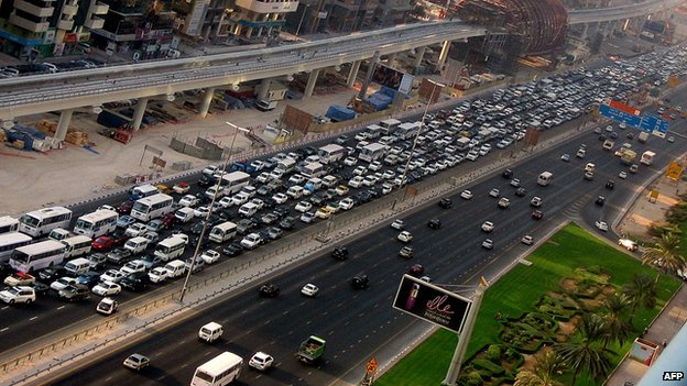 A traffic jam in Dubai