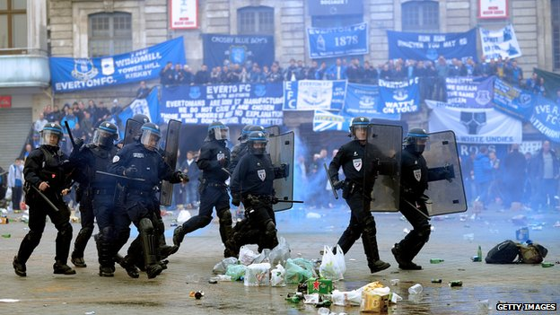 Police and Everton fans in Lille
