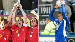 David Gonzalez with Spain's under 17 European Championship winners in 2007 and playing for Macclesfield Town in 2014