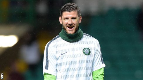 Celtic goalkeeper Lukasz Zaluska is all smiles