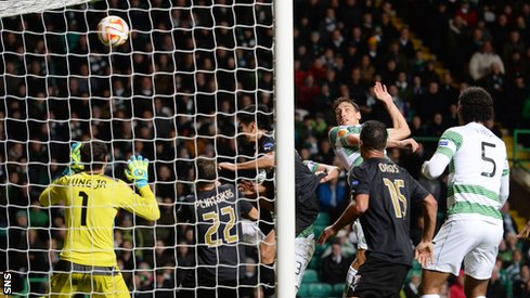 Stefan Scepovic heads Celtic into the lead