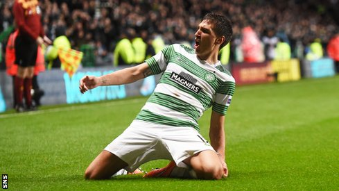 Stefan Scepovic celebrates his first goal for Celtic